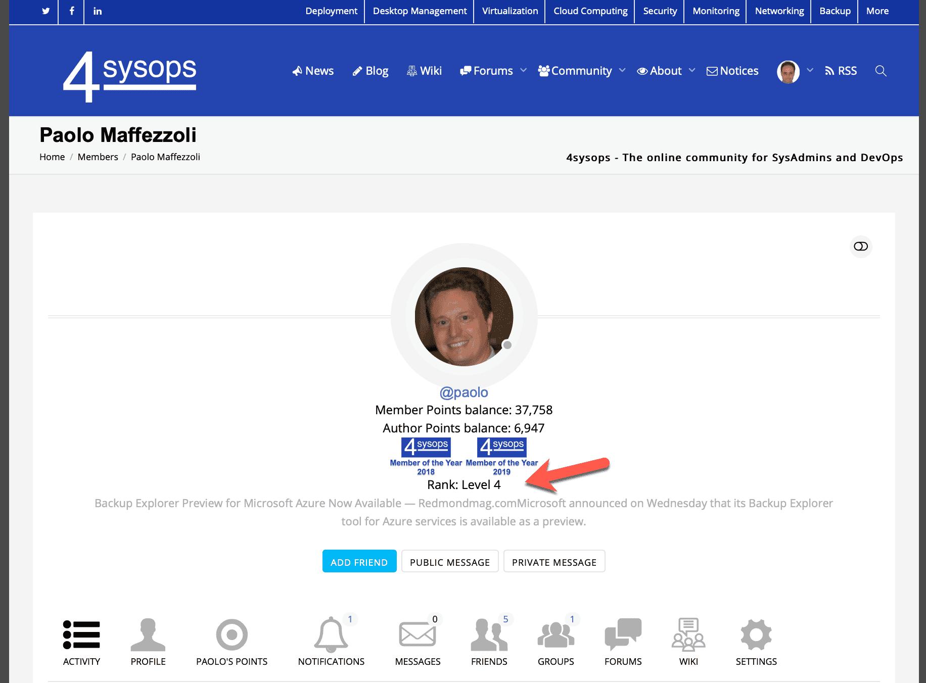 Member rank in the profile